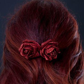 Glitter red rose clip for hair